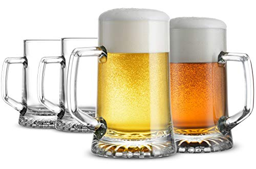 Bormioli Rocco 4-Pack Solid Heavy Large Beer Glasses with Handle - 17.1/4 Ounce Glass Steins, Traditional Beer Mug glasses Set, Perfect Coffee - Tea Glass, Everyday Drinking Glasses, Cocktail Glasses