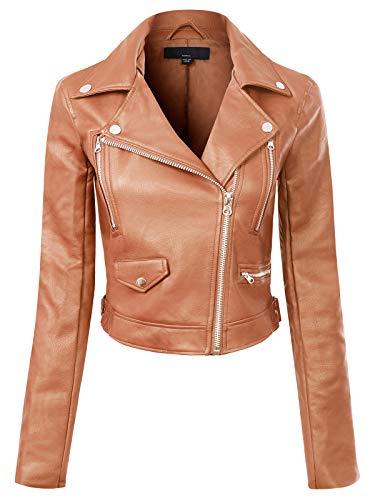 Design by Olivia Women's Long Sleeve Zipper Closure Moto Biker Faux Leather Jacket Cognac M