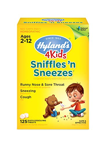 Kids Cold Medicine, Hyland's 4 Kids Sniffles n' Sneezes Tablets, Decongestant, Headache and Sinus Relief, Natural Treatment for Common Cold Symptoms, 40 Count