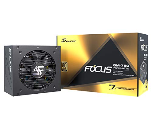 Seasonic FOCUS GM-750, 750W 80+ Gold, Semi-Modular, Fits All ATX Systems, Fan Control in Silent and Cooling Mode, 7 Year Warranty, Perfect Power Supply for Gaming and Various Application