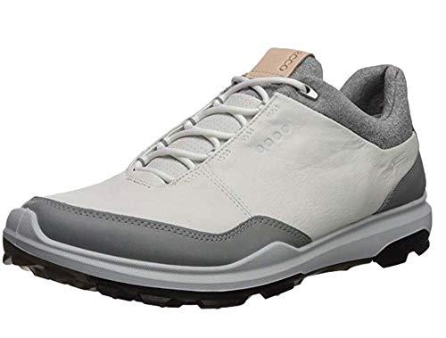 ECCO Men's Biom Hybrid 3 Gore-Tex Golf Shoe, White/Black Yak Leather, 42 M EU (8-8.5 US)