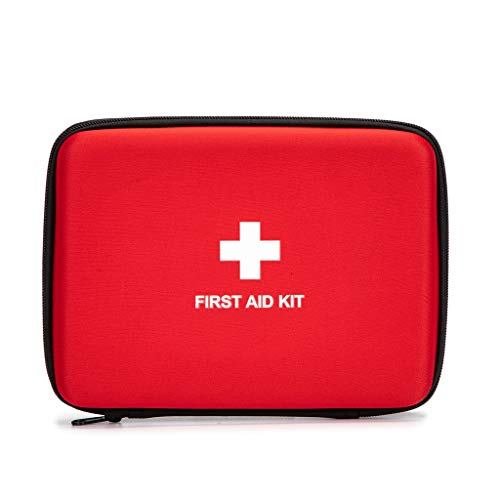 First Aid Hard Case Empty, Jipemtra First Aid Hard Shell Case First Aid EVA Hard Red Medical Bag for Home Health First Emergency Responder Camping Outdoors (6.5x5.7x1.8' Square)