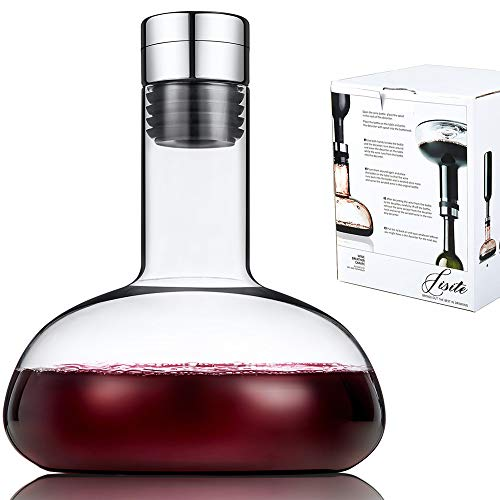 SJ Wine breather Carafe with lid 50oz,100% Hand Blown Crystal glass decanter, Superior Quality Wine Decanter Perfect Gift For Wine