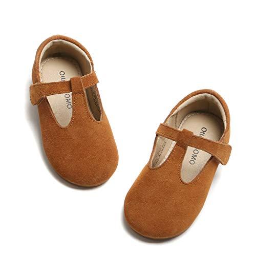 Otter MOMO Girls T-Strap Dress Shoes Comfort Soft Non-Slip Mary Jane Ballet Flat Shoes (5 Toddler, D711-Brown)