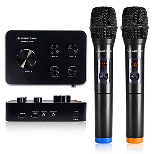 Sound Town Wireless Microphone Karaoke Mixer System w/ HDMI ARC, AUX, Bluetooth -Support Smart TV, Sound Bar, Media Box, Receiver (SWM15-PRO)