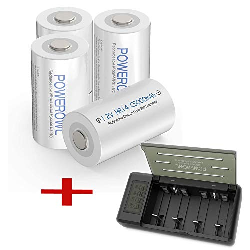 POWEROWL Rechargeable C Batteries 5000mah (4 Pack) +Universal Battery Charger
