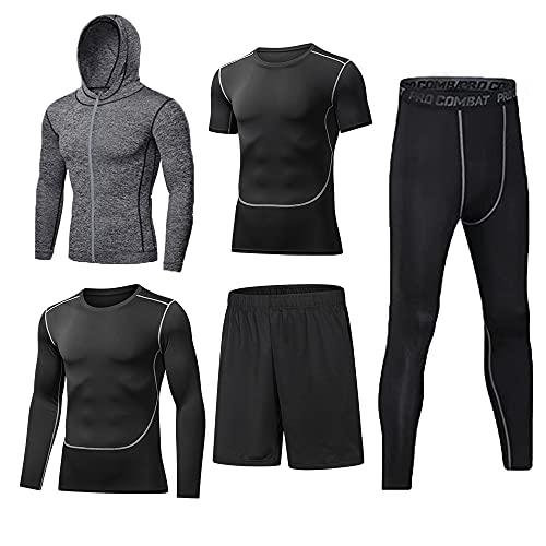 BUYJYA 5Pcs Men's Compression Pants Shirt Top Long Sleeve Jacket Set Suit (Gray, M)