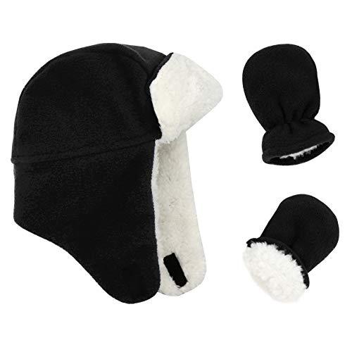 Toddler Winter Hats Trapper Baby Boy Sherpa Hat and Mitten Set Warm Fleece Kids Caps Gloves for Girls Black 2-5T
