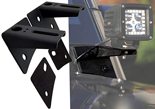 GS Power A-Pillar Windshield Hinge Mount Brackets Compatible with 2007-2018 Jeep Wrangler JK for Mounting Auxiliary Off-Road LED HID or Halogen Fog & Work Lights