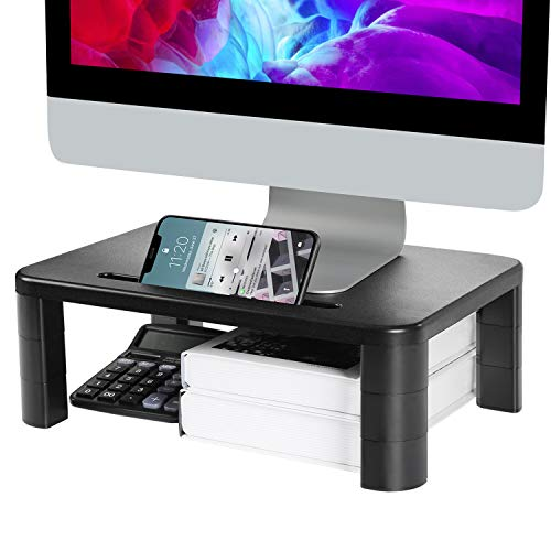 LORYERGO Monitor Stand Riser - 3 Height Adjustable Monitor Stand with Storage Function for Computer, Laptop, Screen, Desktop Stand Built with Phone & Tablet Holder