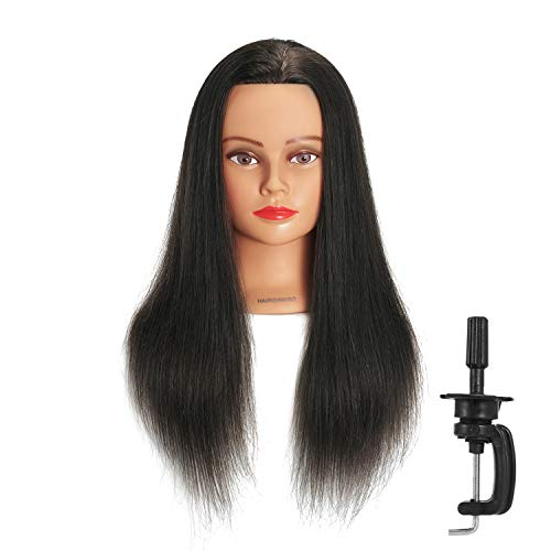 Hairginkgo 100% Real Hair Mannequin Head Hairdresser Training Head Manikin Cosmetology Doll Head (91812LB0214)