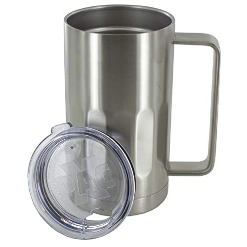 Stainless Steel Beer Mug with Lid - 20 Ounce Double Walled Vacuum Insulated Beer Mug by Maxam - Shatterproof and Spill Resistant (1)