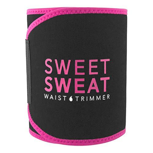 Sports Research Sweet Sweat Premium Waist Trimmer (Pink Logo) for Men & Women ~ Includes Free Sample of Sweet Sweat Gel! (Medium: 8' x 41' Length)