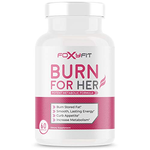 Burn for Her Weight Management Supplement for Women by Foxy Fit — Diet Control White Willow Bark, Theacrine, and Green Coffee Extract (60 Capsules)