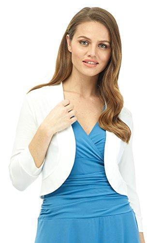 Rekucci Women's Soft Knit Rounded Hem Stretch Bolero Shrug (X-Small,Off White)