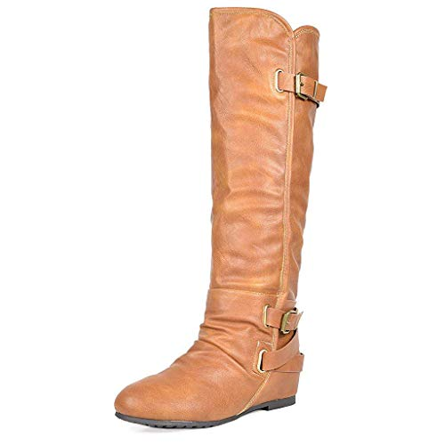 DREAM PAIRS Women's New Akris Camel Pu Hidden Wedge Knee High Boots Size 6 B(M) US