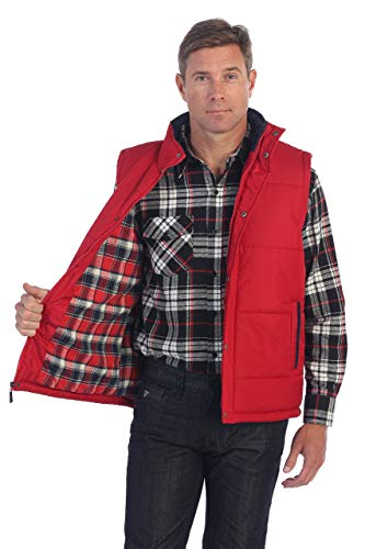 Gioberti Mens Padded Vest with Flannel Lining, Red, Small
