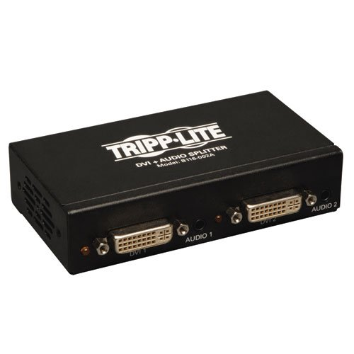 Tripp Lite 2-Port DVI Splitter with Audio and Signal Booster, Single Link 1920x1200 at 60Hz / 1080p (DVI F/2xF)(B116-002A)