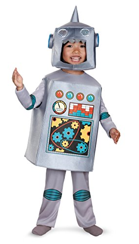 Disguise Costumes Artsy Heartsy Retro Robot Costume, Silver/Red/Blue/Yellow, Large