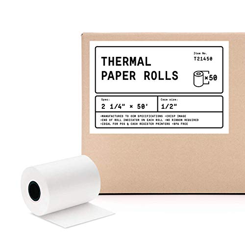 2 1/4' X 50' (50 Rolls) BPA Free Thermal Receipt Paper Roll for Verifone VX520 VX670 VX680 VX690, Clover Flex, Ingenico iCT220 iCT250