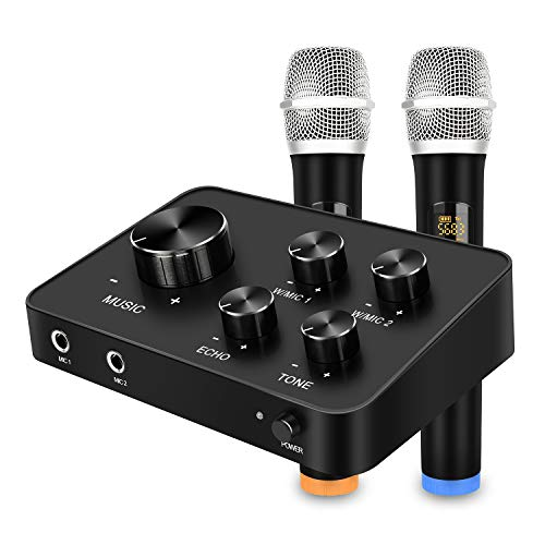 Portable Karaoke Microphone Mixer System Set, with Dual UHF Wireless Mic, HDMI & AUX In/Out for Karaoke, Home Theater, Amplifier, Speaker