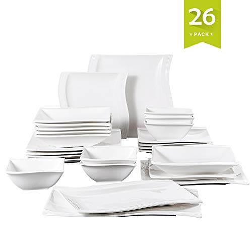Malacasa 26 Pieces Ivory White Porcelain Dinnerware Set, Dinner Plates, Dishes Dinner Sets, Plates and Bowls Sets Square Soup Dessert Plates Service for 6, Series Flora