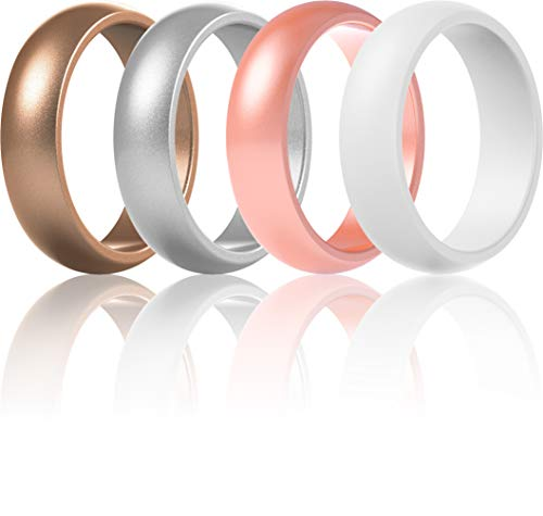ThunderFit Silicone Rings Wedding Bands for Women 4 Rings (Bronze, White, Silver, Rose Gold, 10.5-11 (20.6mm)