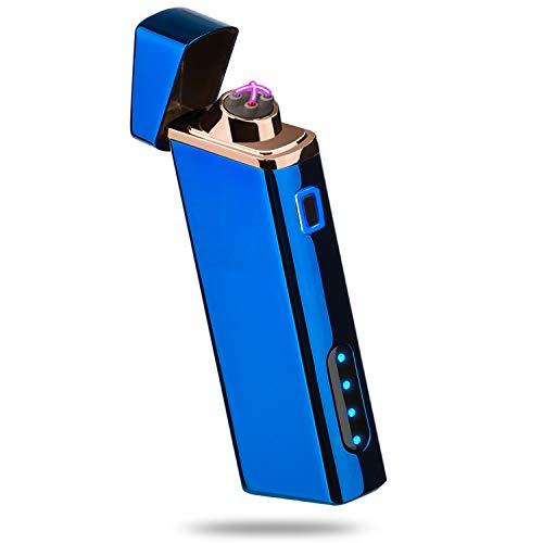 Lighter, Electric Arc Lighter USB Rechargeable Plasma Lighter Windproof Lighter - Battery Status Indicator, Upward Electrodes - Bright Blue S1700