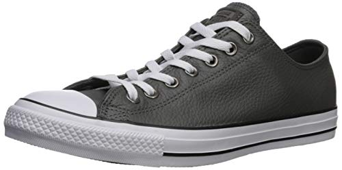 Converse Men's Chuck Taylor All Star Leather Sneaker, Carbon Grey/White/Black, 5 M US