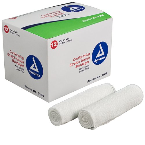 Dynarex Non-Sterile Stretch Gauze Bandage Roll, 4-Inch x 4.1 yds,12 Count