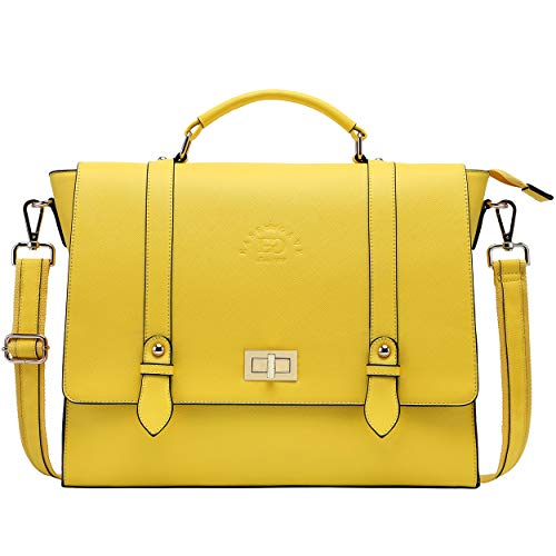 Laptop Briefcase for Women,Work Tote Bag Laptop Messenger Bags Multi-Functional Teacher Bag for 15.6 Inch Chic Work Tote Bag Perfect for Office College Business Travel,Lemon