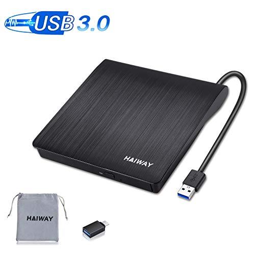 HAIWAY External CD/DVD Drive for Laptop, Type C USB 3.0 Portable CD Drive Slim CD DVD ROM Rewriter Burner Player for Laptop Desktop MacBook PC Windows Linux Mac OS