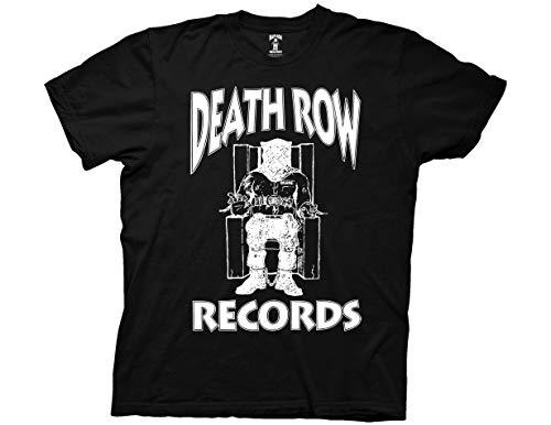 Ripple Junction Death Row Records Adult Unisex White Logo Light Weight 100% Cotton Crew T-Shirt LG Black