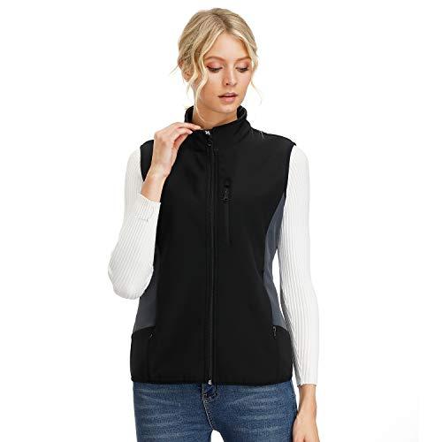 Women's Black Vest, Slim Fit Lightweight Sleeveless Softshell Vest With Pockets XS Black