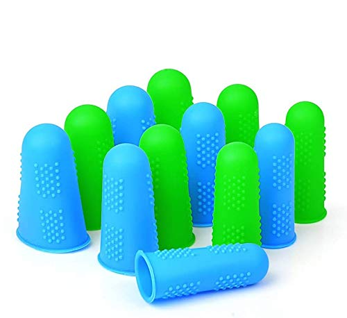 Silicone Finger Protectors Covers Caps for Hot Glue Gun Wax Rosin Resin Honey Adhesives Scrapbooking Sewing Crafts Ironing Embroidery Needlework Accessories (Green&Blue)-12 Pieces