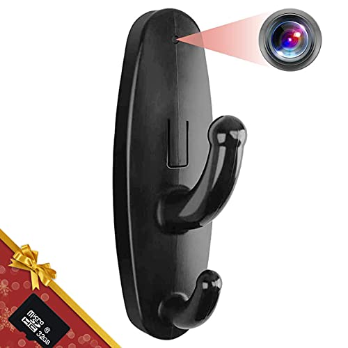 32GB Hidden Camera Clothes Hook, Mini Hidden Camera HD 1080P No WiFi Needed Nanny Cam, Security Camera with 32GB SD Card Recording for Monitoring Home/Baby/Pet No Audio
