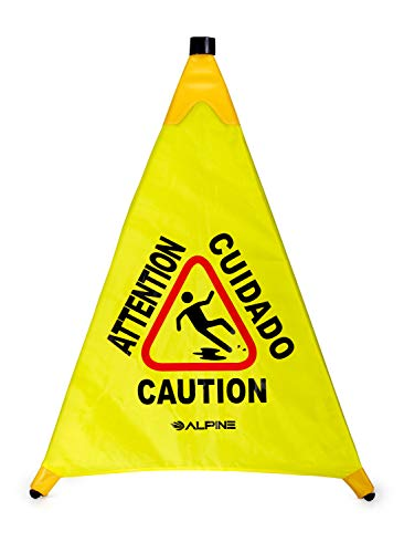 Alpine Industries Pop-Up Wet Floor Sign - Portable Three Sided Caution Cone - Slip & Fall Accident Prevention - for Commercial & Office Use (30 inches)