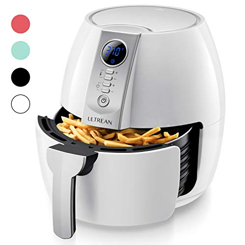 Ultrean Air Fryer, 4.2 Quart (4 Liter) Electric Hot Air Fryers Oven Oilless Cooker with LCD Digital Screen and Nonstick Frying Pot,UL Certified,1-Year Warranty,1500W (White)