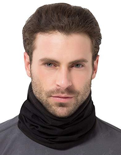 Tough Headwear Reversible Microfiber Fleece Gaiter Tube Neck Warmer (Solids) - Black