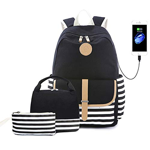 Lmeison Charging Backpack with Lunch Bag Pencil Case, Waterproof Striped Bookbag for Women Teen Girls, Canvas Backpack Set Travel Daypack 15.6inch Laptop Bag for School, Black
