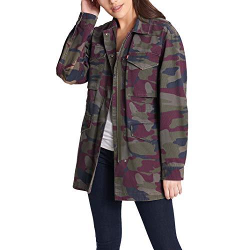 Levi's Women's Cotton Four Pocket Oversized Military Jacket, Purple camo, Small