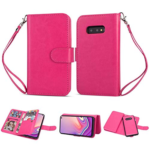 Galaxy S10e Wallet Case [2-in-1] Detachable Magnetic Slim Back Cover Leather PU Shell Heavy Duty Dual Protection Phone Case +Wristband+ Card Holder for Samsung S10e 5.8' (Hot Pink, Galaxy S10e 5.8')