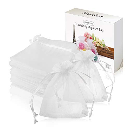 Magicfour 50 Pack 4x5 inches White Organza Bag,Drawstring Gift Pouch,Chocolate Mesh Gift Bag Wedding Bags,Sachet Bags Sheer Organza Pouches,Favor Jewelry Bags