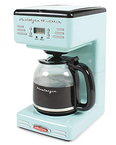 Nostalgia RCOF12AQ New & Improved Retro 12-Cup Programmable Coffee Maker With LED Display, Automatic Shut-Off & Keep Warm, Pause-And-Serve Function
