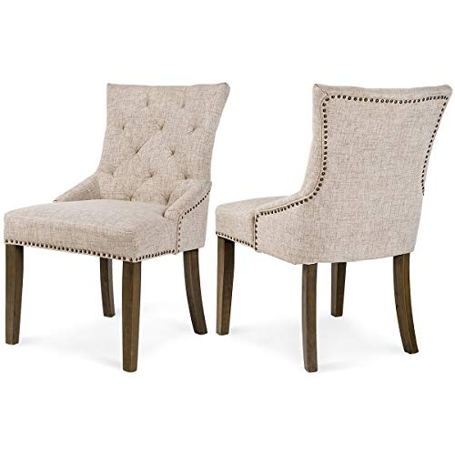 Merax Dining Chair Leisure Padded Chair with Armrest, Nailed Trim, Beige, Set of 2,
