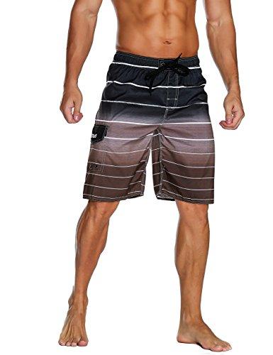 Nonwe Men's Beachwear Quick Dry Holiday Drawstring Striped Board Shorts Coffee 28