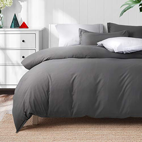 TEKAMON Luxury 3 Piece Duvet Cover Set - Ultra Soft Breathable 100% Brushed Microfiber Hotel Collection Bedding - 1 Comforter Cover with Zipper Closure Matching 2 Pillow Shams (Queen Size, Dark Grey)