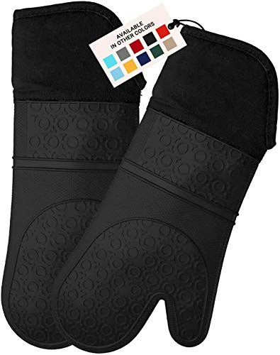 HOMWE Extra Long Professional Silicone Oven Mitt, Oven Mitts with Quilted Liner, Heat Resistant Pot Holders, Flexible Oven Gloves, Black, 1 Pair, 14.7 Inch