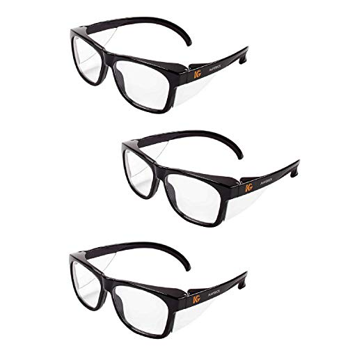 Kleenguard Maverick Safety Glasses with Intergrated Side Shields (3 Pair) (49309 Clear Anti-Fog Lens with Black Frame)