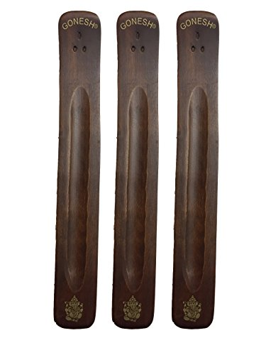 Gonesh 3 Pack Incense Burner ~ Traditional Incense Holder with Inlaid Design ~ Approx. 11 Inches, Variety of Designs